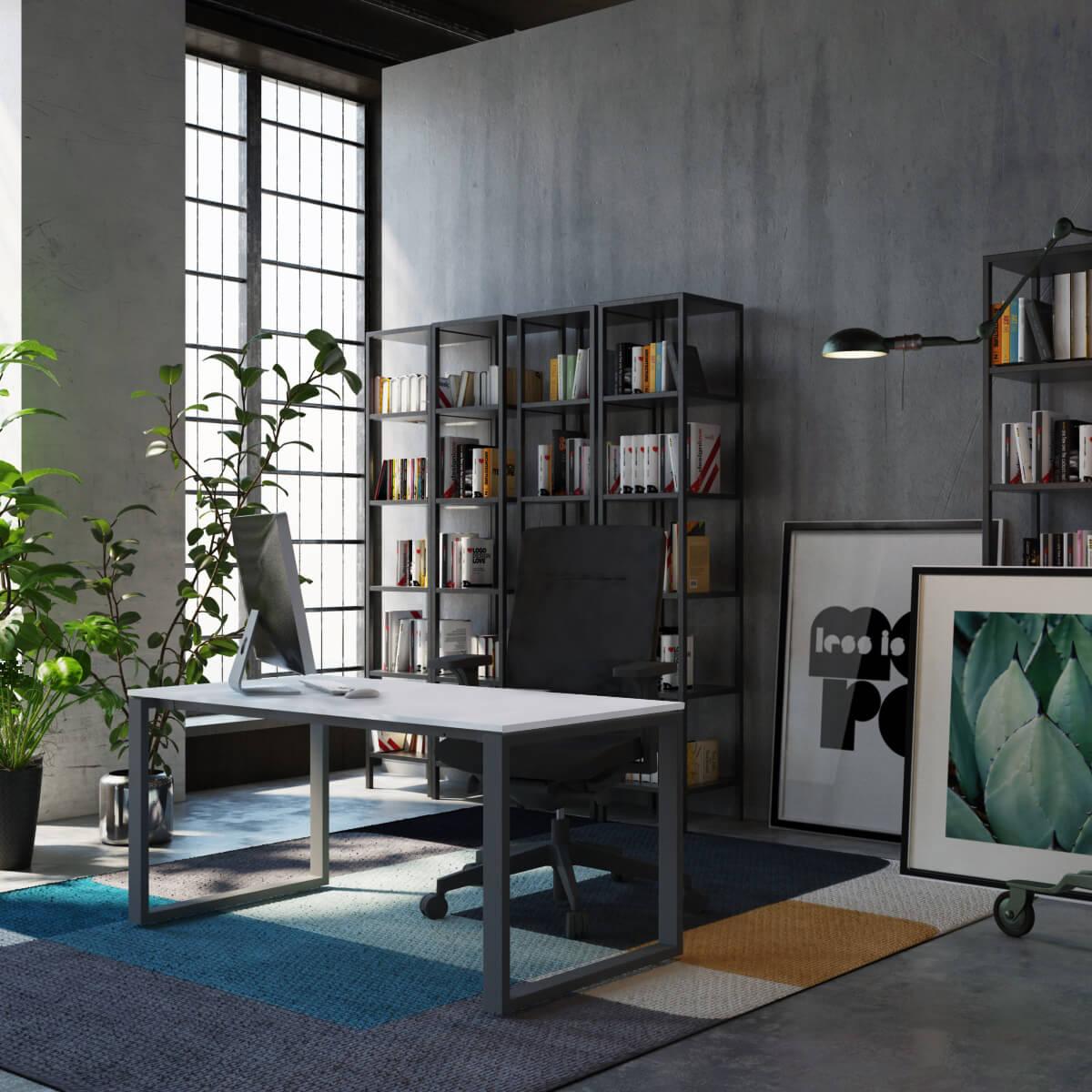 biuro z eleganckim biurkiem, metalowymi regałami i wysokimi oknami
