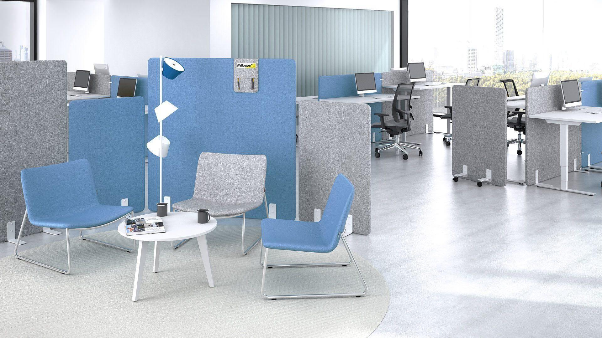 przestrzeń biurowa z wydzielonym miejscem na kawę