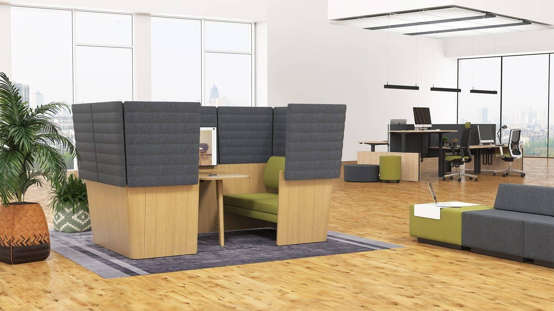 przestrzeń biurowa z wydzielonym miejscem ciszy
