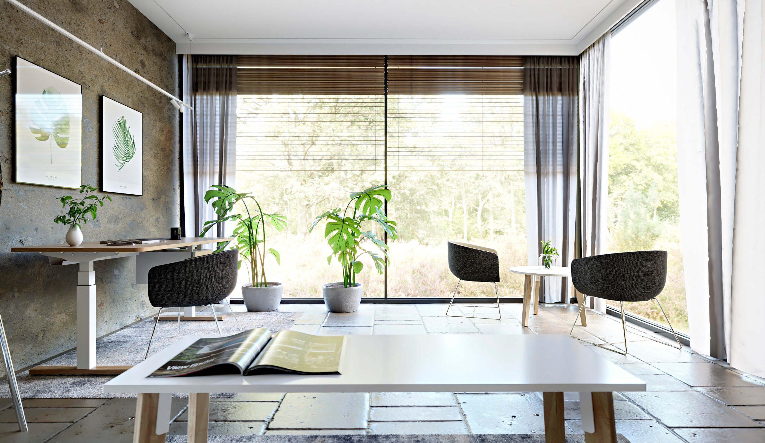 biurowo domowe z widokiem na zieleń
