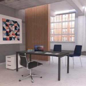 bardzo ładne nowoczesne biuro, drewno, beton, ciemne biurko