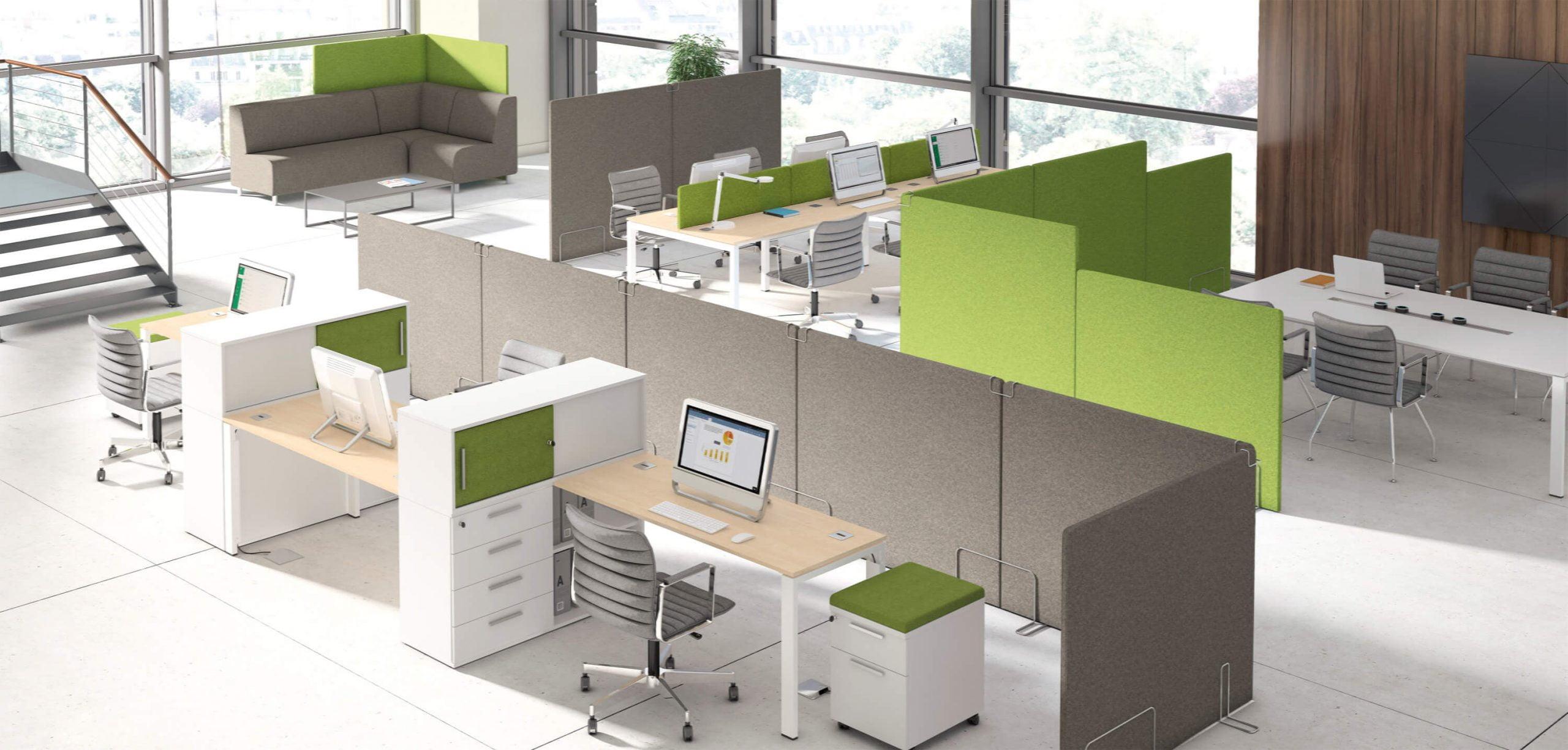 zielone akustyczne ścianki działowe w biurze