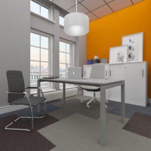 miejsce pracy z krzesłem dla klienta i szafami aktowymi