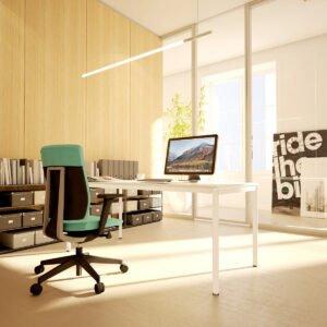 fotel biurowy Profim Xenon i biurko Forma O 180 cm w pięknym biurze