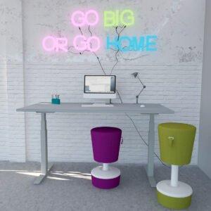 kolorowy render biurka z elektryczną regulacją wysokości