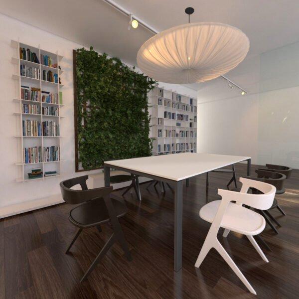biało grafitowy stół konferencyjny i oryginalna lampa