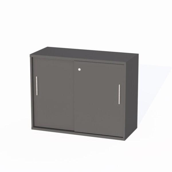 grafitowa szafka z drzwiami przesuwnymi