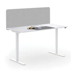 białe biurko elektryczne ze ścianką tapicerowaną
