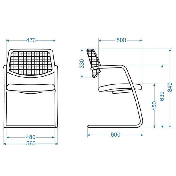 wymiary krzesła do stołu konferencyjnego