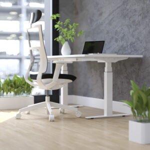 białe biurko elektryczne w domu